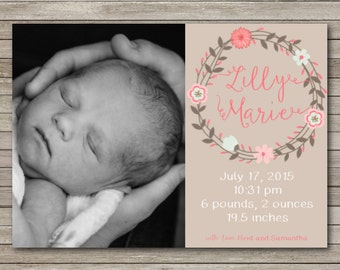 Birth Announcement 5x7 Flat Card Customized Digital Download