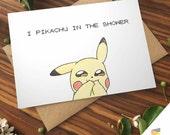 CHEEKY PIKACHU CARD Love Pokemon go greeting card | I choose you | Nerd Couple Geek Cute | Anniversary | Printable | Naughty | Download or P