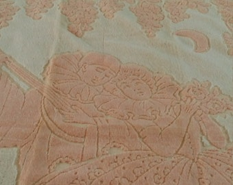 1940s Decorator Fringed Bath Towel - Made in Italy - Peach and Cream Colors