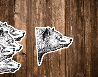 Bear Sticker Set - Black and White Hand Drawn Stickers - Love Grizzly Bear Planner Stickers - Bear Lover, Animal Stickers, Hipster Stickers
