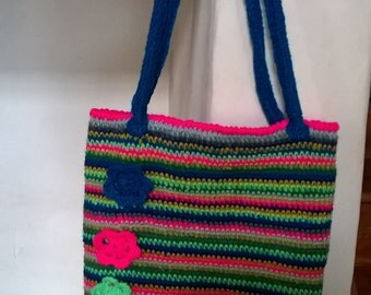Hand made crocheted bag, fully lined with strong straps.