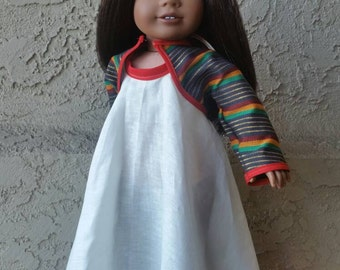 Eazy, Breezy, Beautiful  (18 inch doll clothes Off-White Linen Maxi Halter Dress with printed Bolero Jacket)