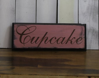 Cupcake Sign/Shelf Sitter/cupcake Decor/Brown/Pink/Cupcake Art