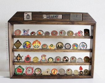 Military Coin Display, Nametape Rank Flag Holder, Wall Hanging Coin Display, Challenge Coin Stand, Military Coin Display, Coin Holder LARGE