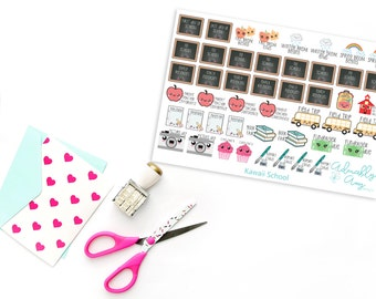 Teenies Kawaii Grade School Planner Stickers for Kikki K, Color Crush, Filofax or any Personal Size Planner