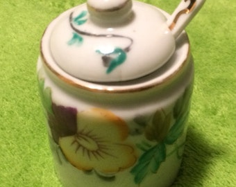 Vintage, Hand Painted, Small Sugar Bowl, with Lid & Spoon
