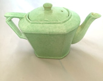 Art Deco Teapot George Clews and Co England Vintage Tea Kettle Seafoam Green Mid Century Modern