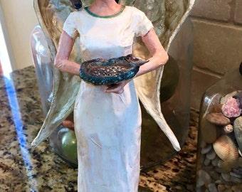 Paper Mâché Angel: Handmade Heart's Content Bird Lover Angel. Made to Order