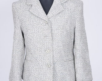 Womens size Euro 38 Grey Checked Woollen Jacket Retro Vintage Young Classic