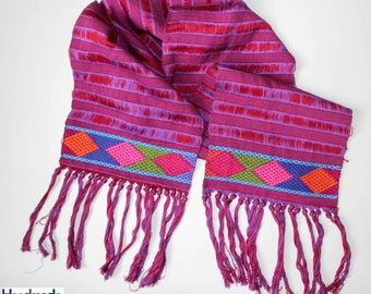 Mexican Embroidered Scarf / Handmade Scarf / Handwoven Mexican Scarf / Mexican Textiles