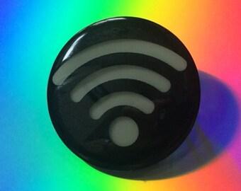 "Glow in the Dark Wifi Symbol 1 1/4 "" Pin-back Button"
