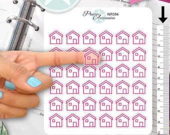 Clear House Stickers Home Stickers Planner Stickers Erin Condren Functional Stickers Decorative Stickers NR584