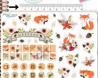 Woodland Stickers,Fall Stickers,Autumn Stickers,Fox Stickers, Animal Stickers,Planner Stickers NR1100