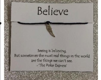 "Believe ""Silver Feather"" Wish Bracelets"