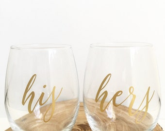 His and Hers Wine Glasses, Stemless Wine Glass, Set of TWO, Gift for Couple, Wedding Gift, Engagement Gift, Mr. & Mrs.