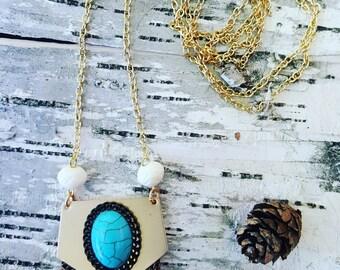 Gold Turquoise Leather Fringe Necklace