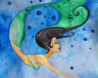 Oktopus Mermaid Art Original Watercolor Painting