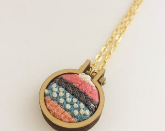 Embroidered necklace – blue, pink, white and grey – mini embroidery hoop necklace – hand embroidered jewelry – embroidered pendant