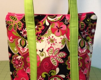 Floral Pink Green Black Insulated Lunch Bag