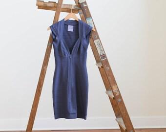 Designer Herve Leger Blue Grey Bandage Dress in Excellent Condition