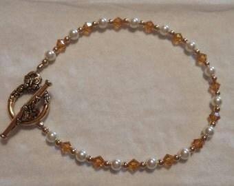 Mothers Bracelet, Birthstone Bracelet, Swarovski Crystals, Pearls