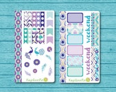 Peacock Sticker Kit for personal planners, Filofax, Kikki K, Gillio, Webster's Pages Color Crush, etc.