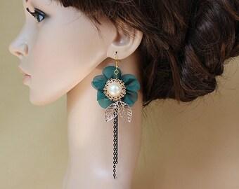 Teal earrings, pearl earrings, dangle earrings, gift for her, drop earrings, fabric earrings, vintage earrings, long earrings, OE-41