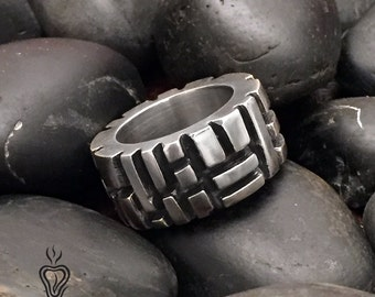 Mens Unique Sterling Silver Ring, Masculine Ring, Solid Sterling Silver Mens Ring, Large Ring for Men, Mens Ring