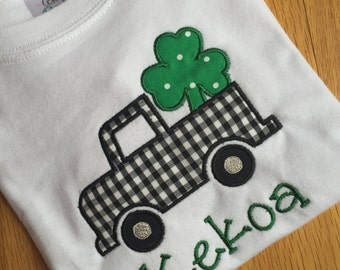 Personalized St. Patrick's Day shamrock truck applique onesie or shirt