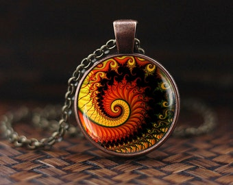 Fractal necklace, Fractal pendant, Fibonacci Spiral Pendant, Golden Ratio, Fibonacci Pendant, Sacred geometry, men's jewelry,