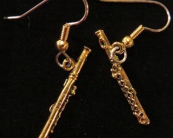 Flute Earrings Flutes 24 karat Gold Plate Music Band Orchestra Symphony Music Teacher Gift  EG196