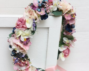 Bridal floral crown Flower hair wreath Flower crown Bridesmaid flower crown Floral crown Flower halo Wedding flower crown
