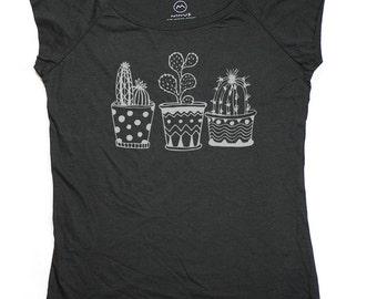 Ninus - Cactus set, Hand-printed Bamboo Women's T-Shirt