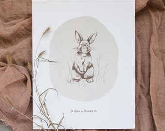 Rosa the Rabbit | Bambini Prints | Nursery artwork | Hand drawn | Illustration