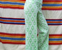 Woman's 60s/70s Vintage Lime Green and Cream Flower Triangle Patterned Mod High Waisted Stretch Bell Bottom Pants