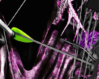 Bow Reaper Oblit Skull Pink Camo LAMINATED Cornhole Wrap Bag Toss Decal Baggo Skin Sticker Wraps