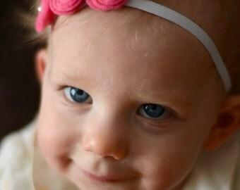 Beautiful Pink Baby Felt Floral Headband