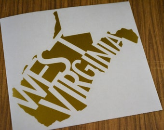 West Virginia State Decal, WV Decal, Yeti Decal, West Virginia State Sticker, State Pride, Macbook Decal, West Virginia Decal