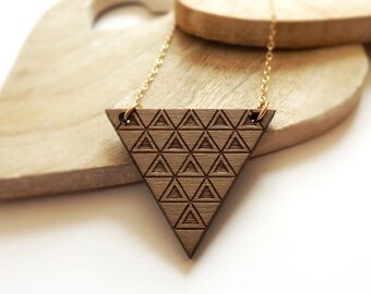 Triangle Laser Cut Wood Necklace, Geometric Pattern, Gold Filled Chain