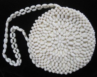 Beaded Purse, White Plastic Beads, Vintage, Made in Hong Kong