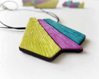 Colorful necklace geometric, Multicolor necklace, Summer necklace, Tri color necklace, Statement pendant necklace, Triangle necklace