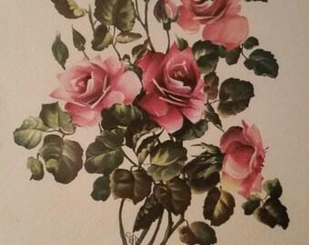 Vintage Art Lithograph of Roses | Framed Botanical Artwork | Mid-Century IBF CO Print | Illustration of Pink Floral Rose Bouquet