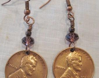 Vintage 1952-D Lincoln Copper Penny Earrings