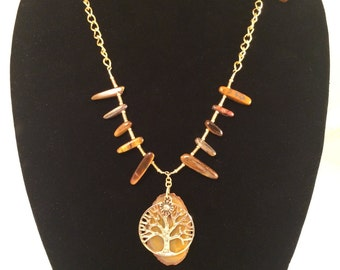 "Gold Tree Necklace-""Tiger's Eye"" Spiked Stones-Nature-Embellished-Gold Theme"