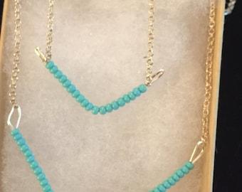 Teal chevron necklaces
