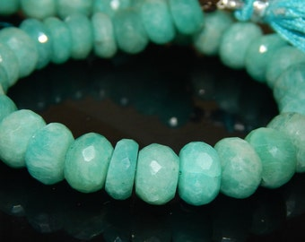 """8""""Inches Amazonite Faceted Beads Rondell Shape 9x10 mm Approx"""