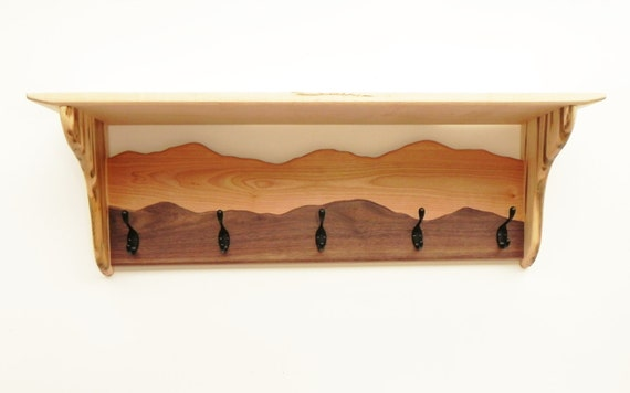 Coat rack hanger with a shelf /Sugar maple, Ambrosia maple, Cherry, Black walnut/