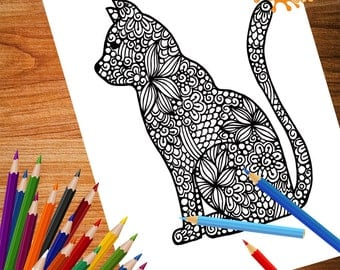 Beautiful Cat design, Zentangle Coloring page for adult, Instant digital download,  Printable PDF coloring book
