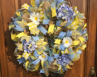 Deco Mesh Floral Wreath - Burlap Spring Wreath - Deco Mesh Wreath with Daisies and Hydrangea - Yellow and Blue Spring Wreath - Burlap Wreath