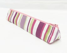 Striped Slim Pencil Case - Triangle Shaped - With Pink, Purple, Lime and Cream Stripes